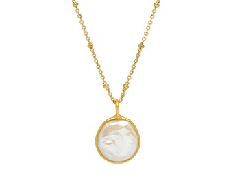 Gold Freeform Coin Freshwater Pearl Pendant
