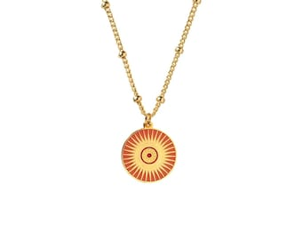 Gold Enamel Sun Medal Pendant on Gold Biba Chain