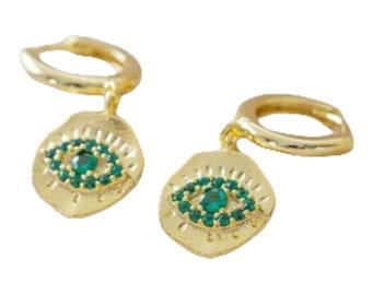 Gold Green Crystal Eye Huggie Hoops