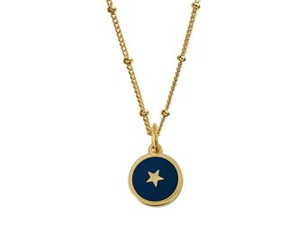 Gold Star and Navy Blue Enamel Medal Pendant