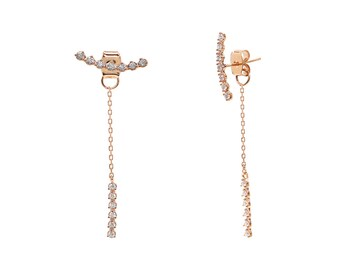 Versatile Rose Gold CZ Ear Climber or Dangly Chain Stud Earrings