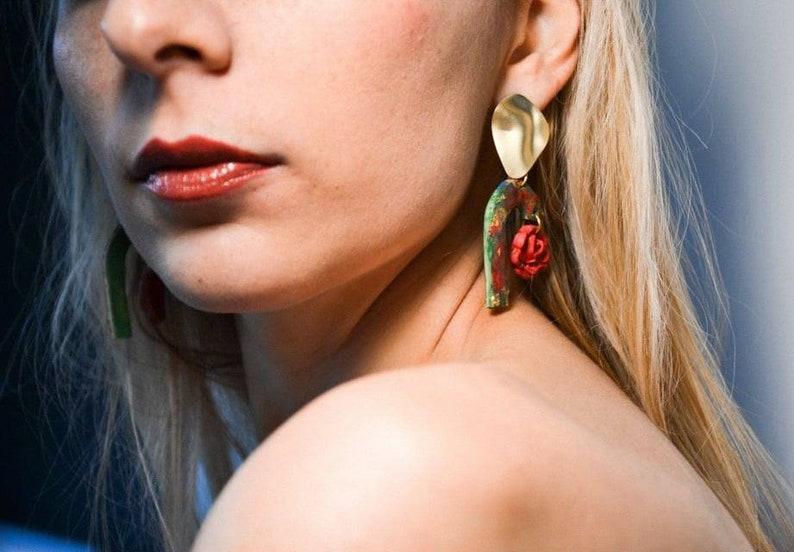 clay earrings Rose earrings wearable art earrings artistic earrings statement earrings