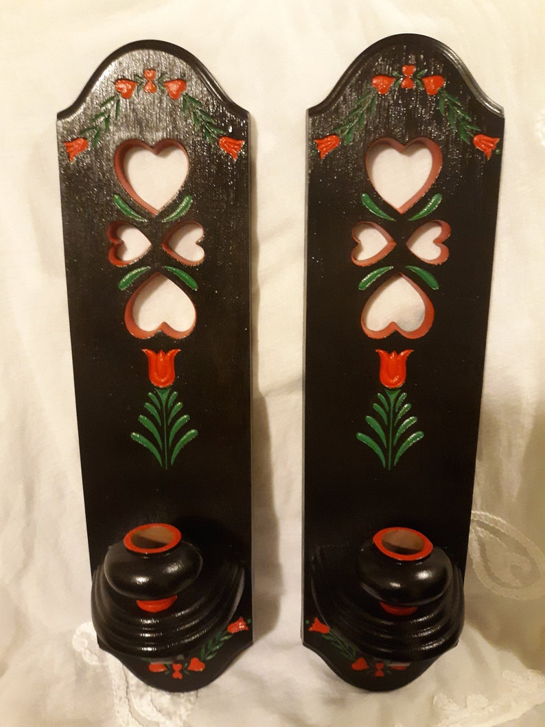2 Vintage 1986 Candle handpainted Wall Hanging Sconces or image 0