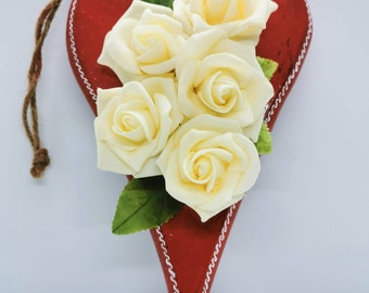 Heart and roses ornament, handmade Mother's Day present, heart shaped hanging decoration with faux roses, personalisable