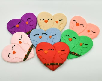 Love birds clay magnet, Mother's Day present, handmade anniversary gift, birthday present for him or her, colourful heart shaped magnets