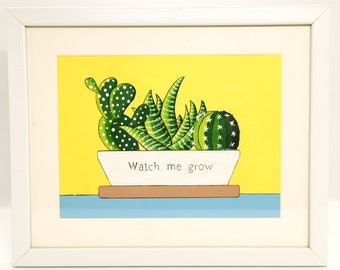 Succulents plants picture with  affirmation | Framed acrylic painting | Positive vibes | Original art | Housewarming present