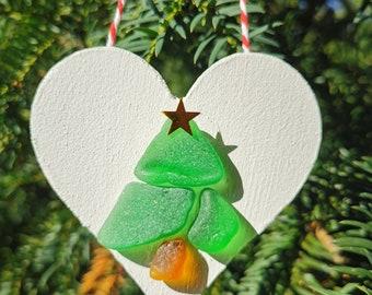 Personalised Christmas Decoration | Sea Glass Tree Ornament | Heart Shaped Home Decor | Stocking Filler Secret Santa Present Gift