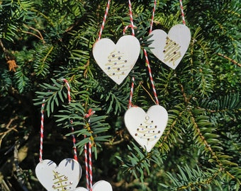 Personalised Christmas Decorations | Set of 4 Handmade Tree Ornaments | Heart Shaped w Crystals | Stocking Filler Secret Santa Present Gift