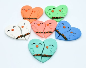 Love birds clay magnets, heart shaped magnets, gift for sibling mother brother sister, present for best friend