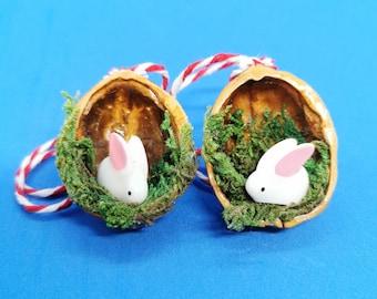 Bunny Christmas Decoration | Rabbit in a Nutshell Tree Ornament | Handmade Christmas Ornament | Secret Santa Stocking Filler Present