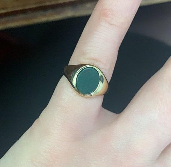 Vintage 1987 9ct Gold Bloodstone Signet Ring