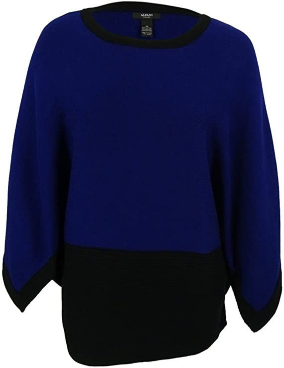Alfani Womens Colorblock Long Pullover Top