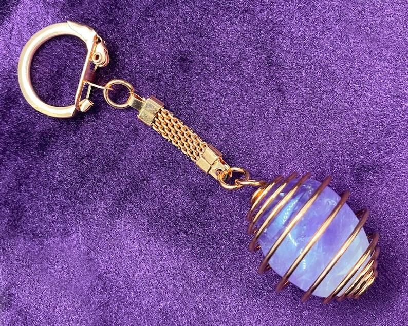 Crystal Keychain Power Crystal Caged Crystal Amethyst Crystal Copper Keychain