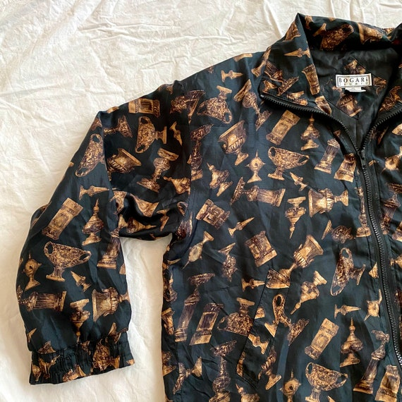80s Silk Patterned Bomber Jacket