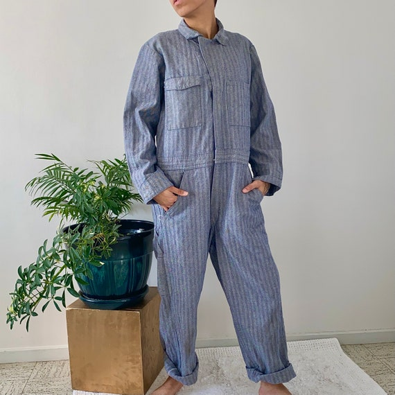 80s Dickie's Denim Herringbone Workwear Coveralls