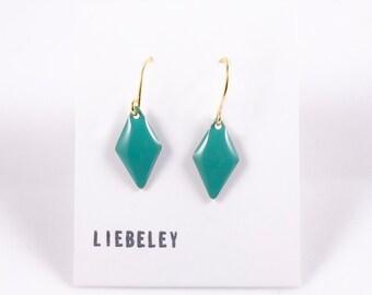 Earrings enamel greenpetrol