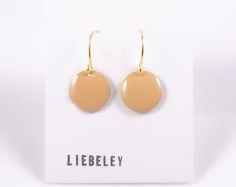 Earrings enamel beige
