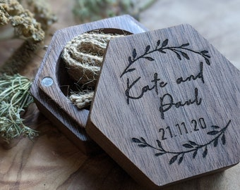 Wedding Personalised Engraved ring box proposal ring bearer I do custom design wooden initials name date Mr and Mrs ring pillow gift hexagon
