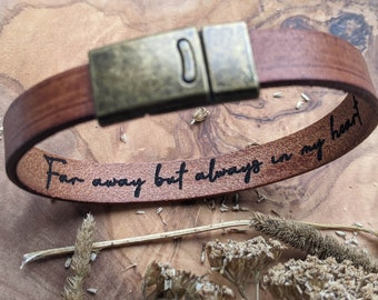 Secret Message Bracelet, Hidden Message, Personalised Real Leather Bracelet, Personalised Gift for Him, Gift for Her, Gift for Boyfriend