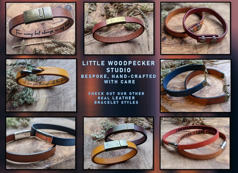 Personalised Genuine Leather Bracelet Laser Engraved with personal message name initials Gift for him gift for her 3rd anniversary handmade