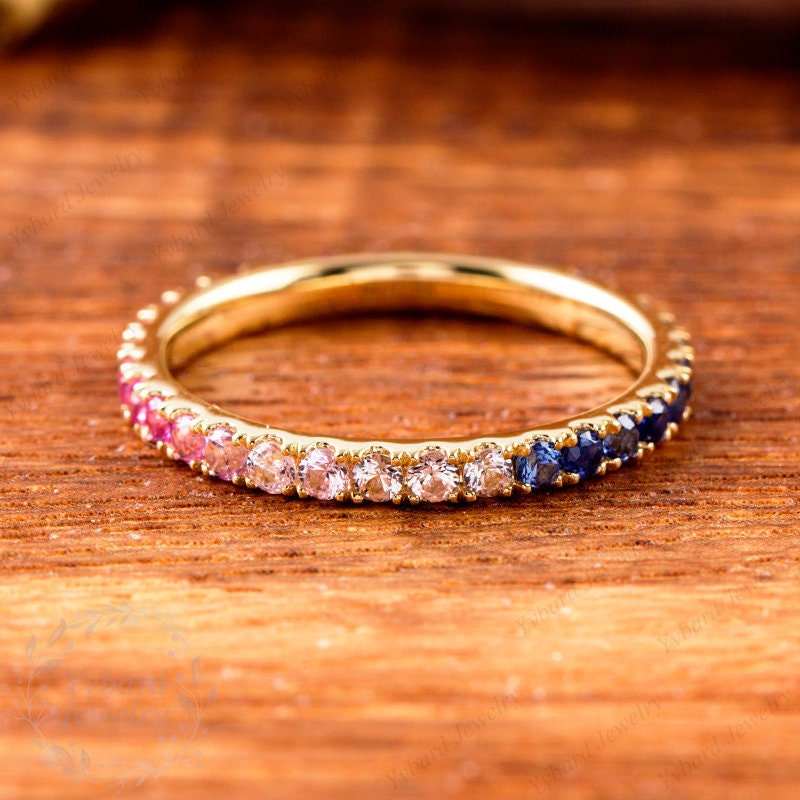 Dainty Rainbow Band Ring, Full Eternity Band, 14K Gold Stacking Ring, Natural Color Sapphire Stackable Ring,Multicolor Ring,Multi-Stone Ring