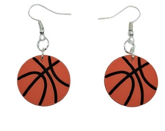 Basketball Earrings with Childs Name Customized Basketball Earrings Basketball Earrings Personalized Personalized Basketball Earrings