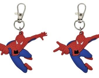 Zipper Pull Spider Man Badge Reel Accent Purse Collar Charm Generic Handmade Set of 2