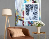 David - original painting - large size - acrylic - modern - contemporary - Michelangelo - hand painted - big - large painting