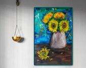 Girasoli - quadro originale di grandi dimensioni dipinto a mano floreale, large modern painting hand painted floral vivid colors