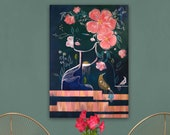 Woman in flowers - quadro originale moderno grandi dimensioni dipinto a mano - large contemporary modern painting hand painted - living art
