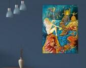 Quadro originale, grandi dimensioni, quadro dipinto a mano, surrealista - modern, large painting, hand painted painting - surrealist