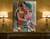 """Painting reproduction by the French Lhote """"Le deux amies"""" - canvas, vintage painting - oil painting"""