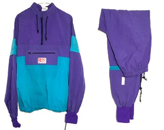 Active sports wear Medium M Old School 90s era nylon wind shell suit top and bottom 80s vintage rave tracksuit set lilac purple violet