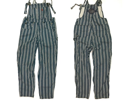 Vintage overalls blue and white stripes dungarees