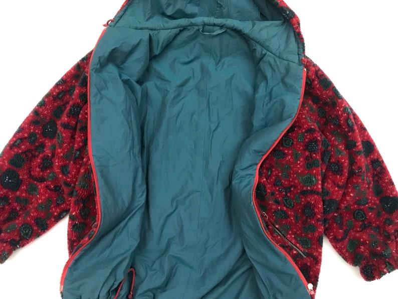 Vintage fleece hooded jacket 1990 red black hipster two pockets lined coat