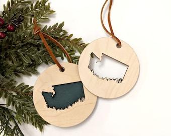 Washington State White Wood Ornament