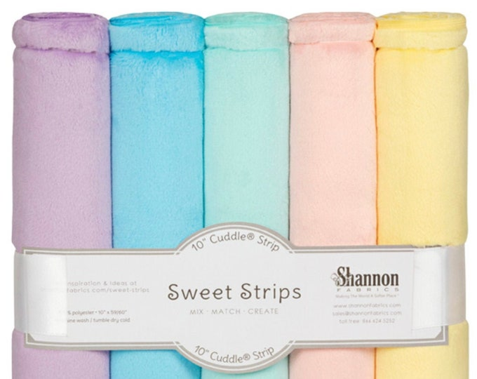 """10"""" Cuddle® Sweet Strips - Pastels, Cuddle® Minky Fabric Precut Strips, 5 Solid Colors, Shannon Fabrics, Great for Quilting, Sewing & Crafts"""