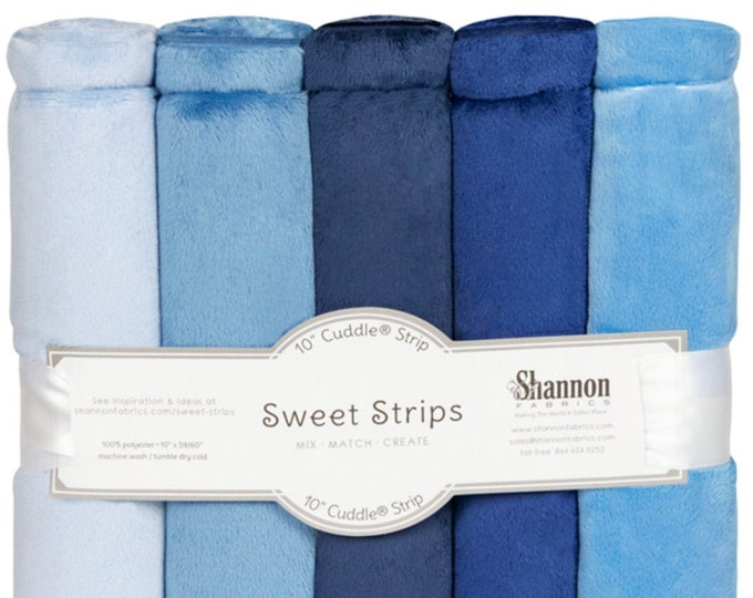 """10"""" Cuddle® Sweet Strips - Denim, Cuddle® Minky Fabric Precut Strips, 5 Solid Colors, Shannon Fabrics, Great for Quilting, Sewing & Crafts"""