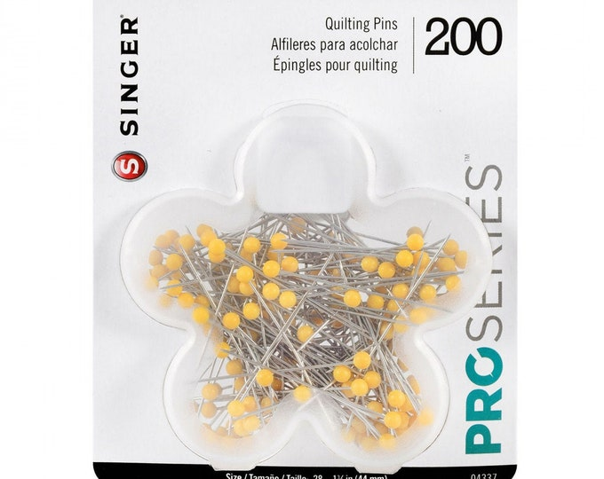 Singer ProSeries Ball Head Quilting Pins 200 Count. Size 28,  1-3/4 in, (44mm)