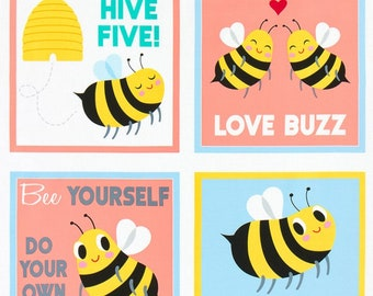 Robert Kaufman Bee Knees - Bumble Bee Fabric Panel with Free Pillow Pattern, 100% Cotton, Great for Quilting, Sewing and DIY Crafts