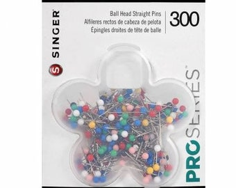 Singer ProSeries Ball Head Straight Pins 300 Count. Size 17,  1-1/16 in, 2.7 cm