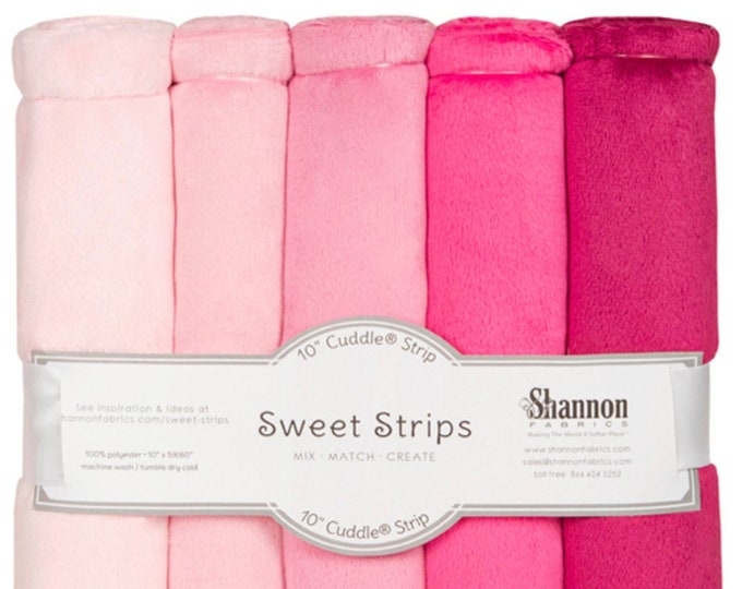 """10"""" Cuddle® Sweet Strips - Pink, Cuddle® Minky Fabric Precut Strips, 5 Solid Colors, Shannon Fabrics, Great for Quilting, Sewing & Crafts"""