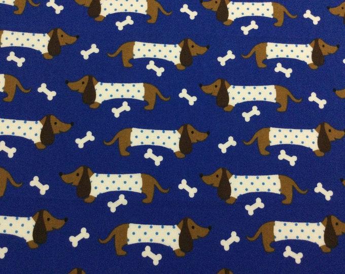 SALE - Pound Puppies, Single Fat Quarter, Blue, Brown, White, 100% Cotton Fabric