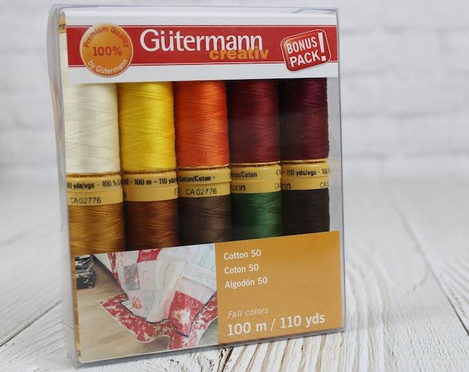 Gutermann creativ Cotton 50wt Thread Set, Fall Colors, 100m/110yds, 10 Spools Value Pack