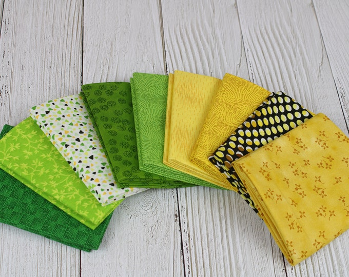 Stof Fabrics Yellow & Green Collection 9-Piece Fat Quarter Bundle, 100% Cotton, Great for Quilting, Sewing and Crafts