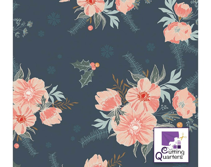 Cozy & Magical - Frosted Roses Midnight by Maureen Cracknell for Art Gallery Fabrics, 100% Premium Cotton