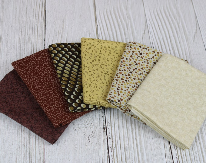 Stof Fabrics Natural & Brown Collection 6-Piece Fat Quarter Bundle, 100% Cotton, Great for Quilting, Sewing and Crafts