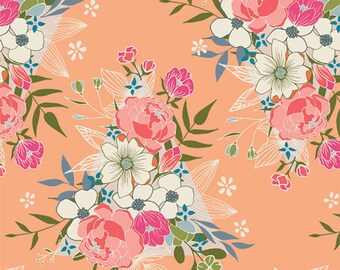 Open Heart - Flowering Hope by Art Gallery Fabrics, Pink, Floral, 100% Cotton, Great for Quilting, Sewing & DIY Crafts