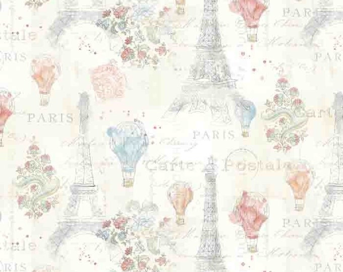 Lighthearted in Paris, Cream/Multi,  Fat Quarter, 1/2 Yard, Yard, 100% Cotton Fabric, Great for Quilting, Sewing & Crafts