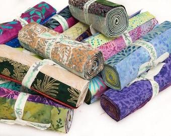 "Island Batik Stash Builder Packs - 5 Rolls of 5"" x 44"" Strips, Hand Dyed Batik Cotton, Great for Quilting, Sewing & DIY Crafts"